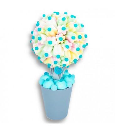 Arbre à fleurs en bonbons bleu