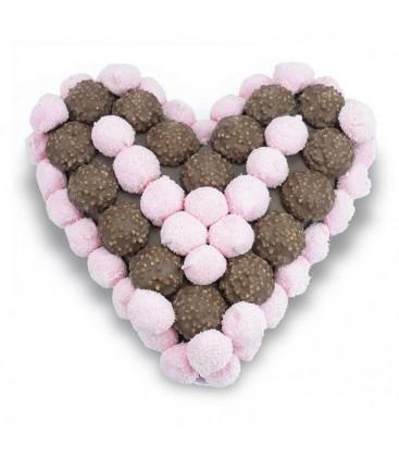 Cœur en Chocolat et guimauve rose