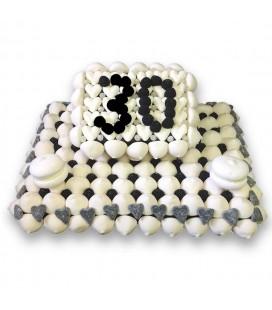 Gâteau Anniversaire Noir et blanc personnalisable
