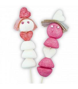 Les Amoureux - Couple de brochette de bonbons