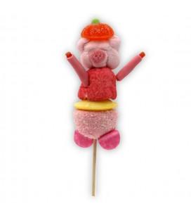 Théodule - Le Petit Cochon en brochette de bonbons