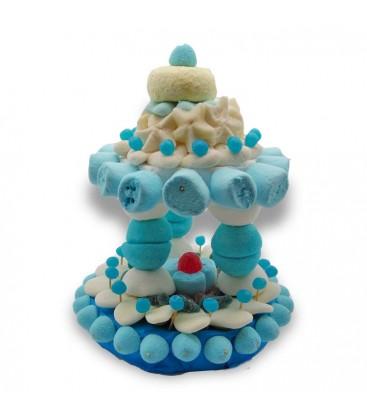 Carrousel de Mariage - pièce montée bleue et blanche
