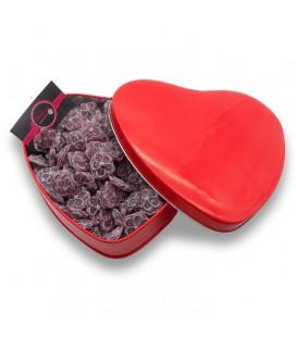 La boite de Violettes -Bonbonnière en forme de cœur