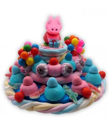 Sweets Peppa Pig - Gâteau d'anniversaire avec bougie