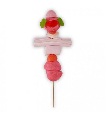 Brochettes de bonbons rose