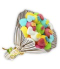 "Bouquet de bonbons ""TE QUIERO""-emballage cello+ papier cadeau rayure or"