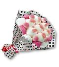 """Bouquet de bonbons """"JE T'AIME""""-Emb cello+papier cadeau à carreaux"""
