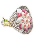 """Bouquet de bonbons """"JE T'AIME""""-Emb cello+papier cadeau rayures or"""