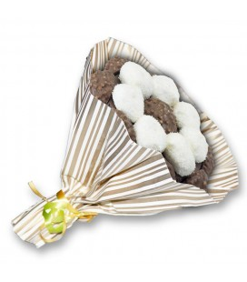 Bouquets Choco ruban blanc-emballage rayure or