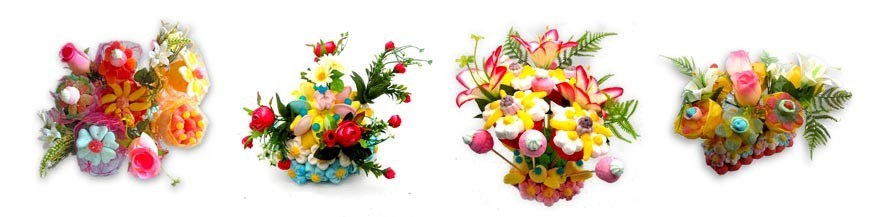 présentations florales en bonbons